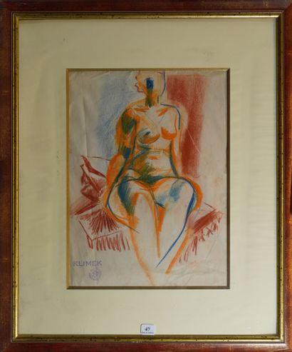 47- Ludwig KLIMEK  ''Nu assis''  Pastel sur...