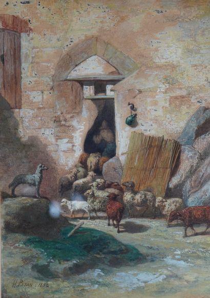 15- H. PISAN  ''Le retour du troupeau''  Aquarelle...