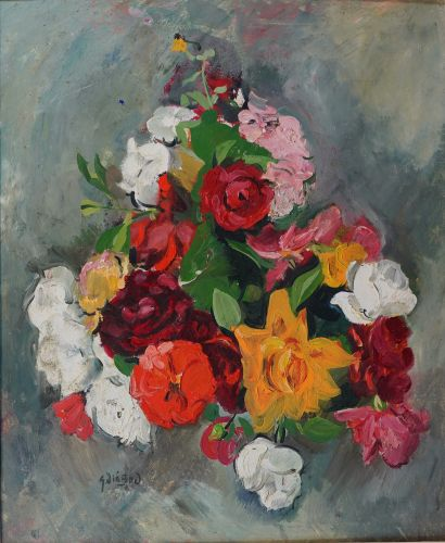 40- DIEBOV  ''Bouquet de fleurs''  Huile...