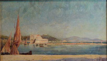 34- A. BERNI  ''Fort en bord de mer''  Huile...