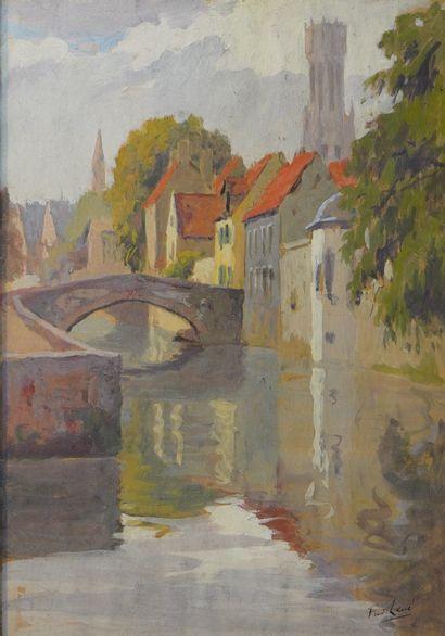 49- F. LEVE  ''Pont sur la rivière''  Gouache...