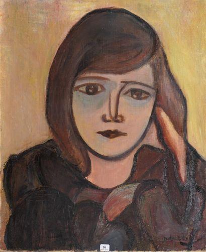 50- DELARAY (?)  ''Portrait de jeune femme''...