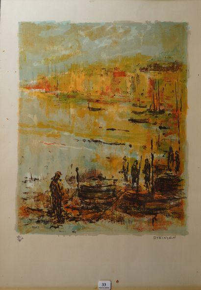 33- STEINLEN  ''Scène de port''  Lithographie...