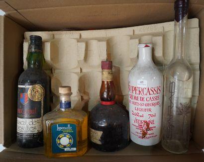 45- 10 bouteilles d'alcool divers