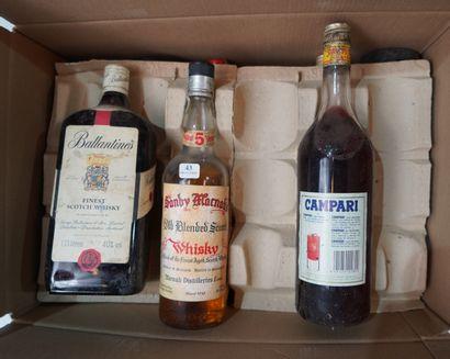 43- 8 bouteilles d'alcool divers : Campari,...