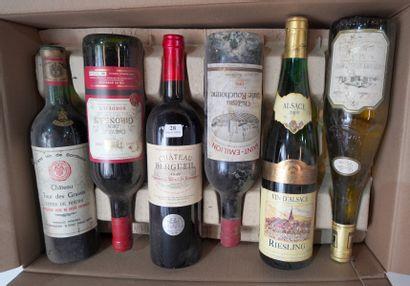 28- 12 bouteilles de vins divers : Bordeaux,...