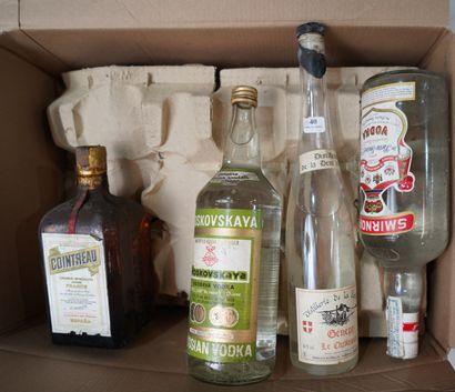 40- 9 bouteilles d'alcool divers : Gin, Vodka,...
