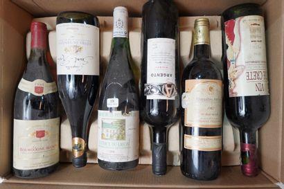 18- 12 bouteilles : Bourgogne, Côtes du Rhône,...