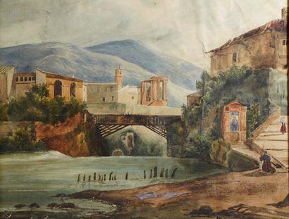 41- Ecole Italienne ''Le petit pont de bois''...