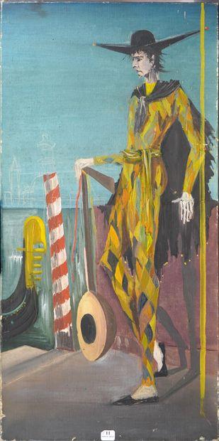 11- Anonyme ''Arlequin à Venise'' Huile sur...