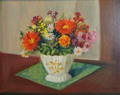 25- E. LACROIX ''Bouquet'' Huile sur isorel...
