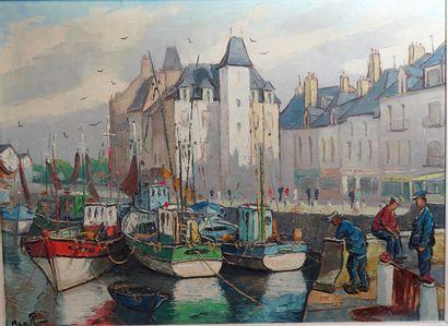 48- MABILLE ''Port du Croisic'' Huile sur...