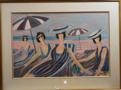 18- DUTOT ''Femmes sur la plage de Deauville''...