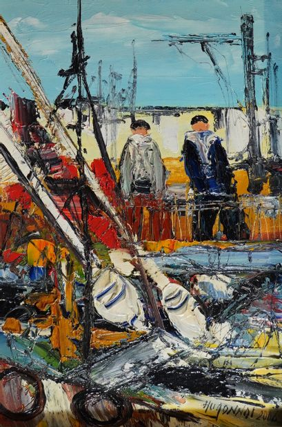 31- Patrick HUGONNOT ''Sur le port'' Huile...