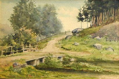 23- Maurice HAGEMANS ''Le pont'' Aquarelle...