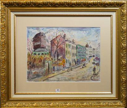 29- Bruno Emile LAURENT ''Rue de Montmartre''...