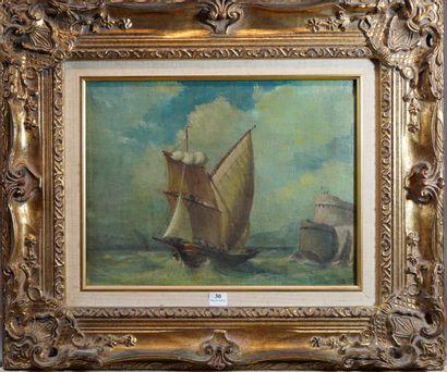 30- ''Marine'' Huile sur toile signée en...