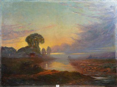 37- René DASTE ''Paysage au soleil couchant''...