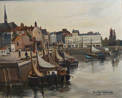 49- Gaston GIRAULT ''Port de Honfleur'' Huile...