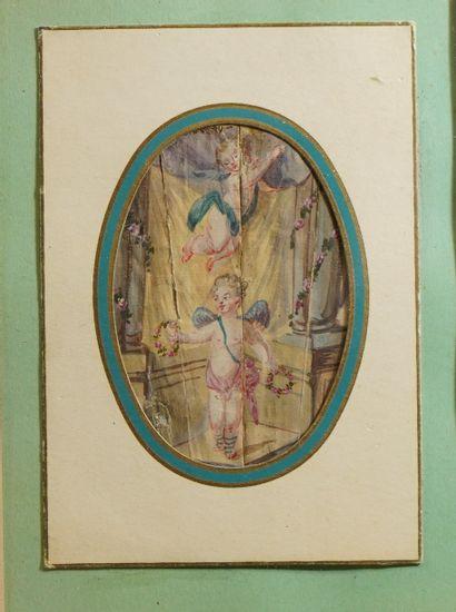 43- ''Les Angelots'' Aquarelle miniature...