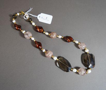 2- Collier en Murano et perles d'eau douce...
