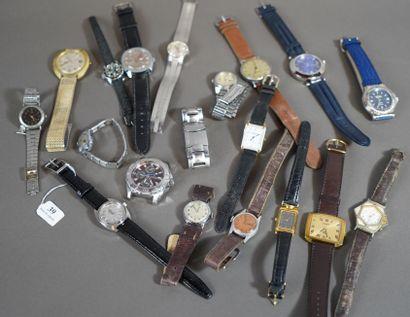 39- Important lot de montres diverses : Rapid,...