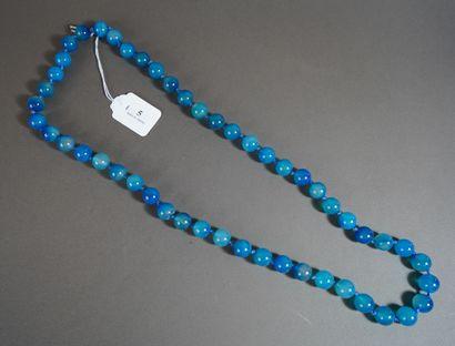 5- Sautoir en cristal aqua bleu L : 80 c...