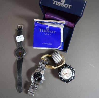 34- Lot de quatre montres : Seiko, Tissot...