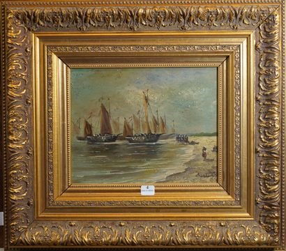 4- BARTON  ''Marine''  Huile sur toile signée...