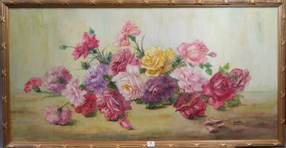 46- Madeleine DAMBRUN  ''Les roses''  Aquarelle...
