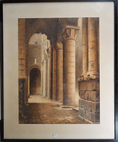 5- J. POUPART  ''Abbaye de Jumièges''  Dessin...