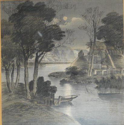 6- ''Paysage''  Tissu peint  Extrême-Ori...