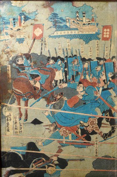 3- ''Scène de bataille''  Estampe japonaise...