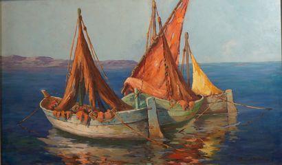 43- Armand FORTUNI  ''Bateaux de pêche en...