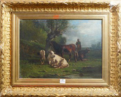 27- A. CORTES  ''Bergère et son troupeau''...