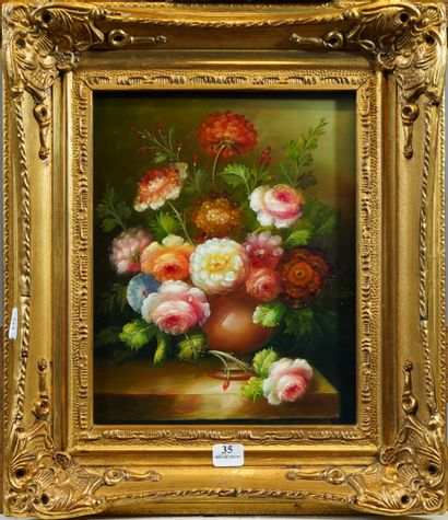 35- Ecole Française  ''Vase de fleurs''  Huile...