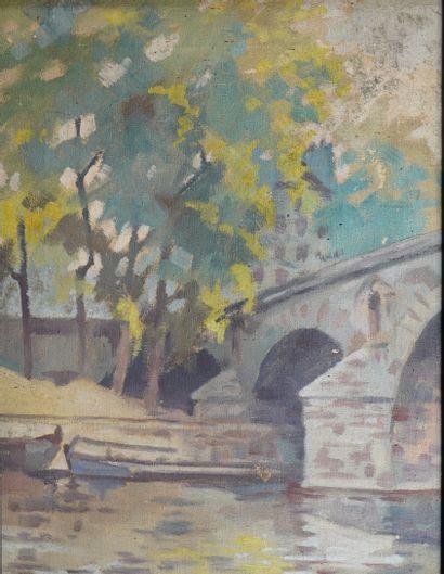 28- Jean DUGRENOT  ''Pont Marie, Paris 1950...