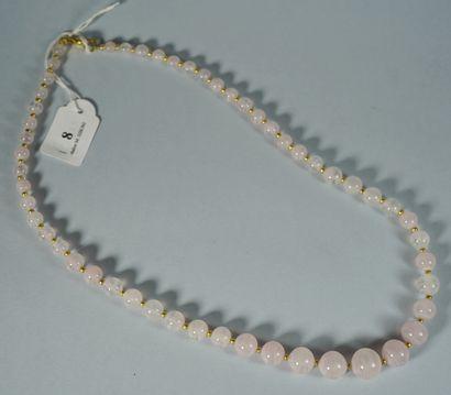 8- Collier en quartz rose  Longueur : 56...