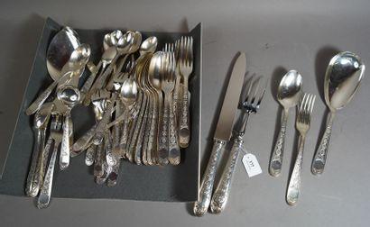377- CHRISTOFLE  Partie de ménagère en métal...