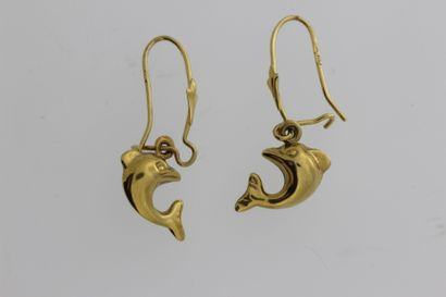 254- Paire de boucles d'oreilles en or à...