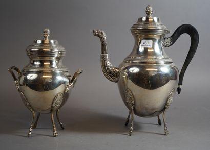431- Cafetière et sucrier en métal argen...