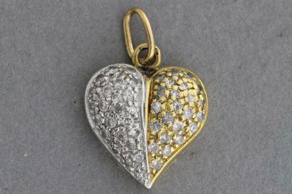 210- Pendentif ''Coeur'' en or de deux couleurs...