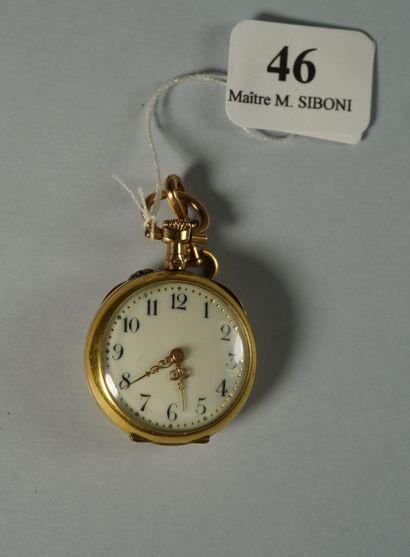 46- Montre de col en or sertie d'une perle