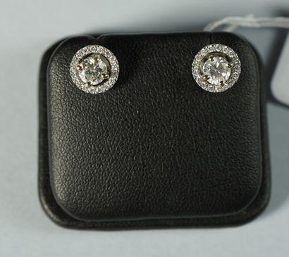 176- Boutons d'oreilles en or gris ornés...