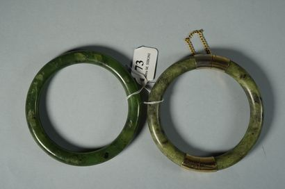 73- Bracelet jonc en jade et jadéite  Fermoir...