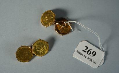 269- Paire de boutons de manchettes en or...