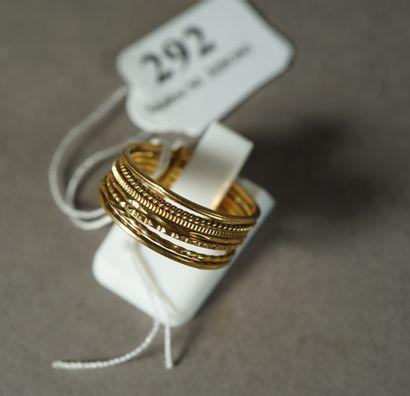 292- Bague sept anneaux en or  Pds : 4,30...