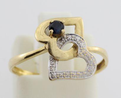 242- Bague ''cœur'' en or de deux couleurs...