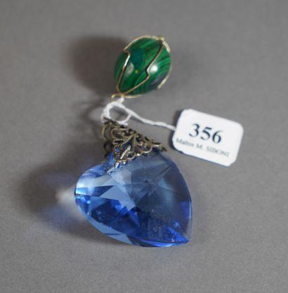 356- Pendentif en malachite et pendentif...