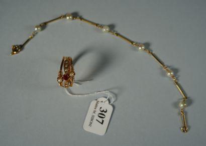 307- Lot comprenant bracelet en or serti...